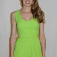 Chevron-Embossed Skater Dress - Always a Runway Clothing