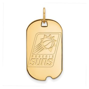 NBA 14k Yellow Gold Plated Silver Phoenix Suns Dog Tag Pendant