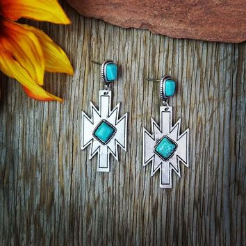 Natural Stone Turquoise Aztec Dangle Earrings