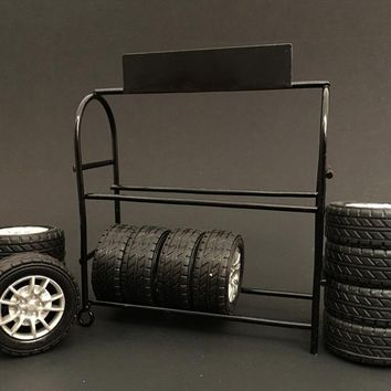 Metal Tire Rack with Rims and Tires For 1:24 Scale Models by American Diorama