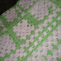 Baby Afghan or Lapghan - White with Green and White Varigated - Crochet