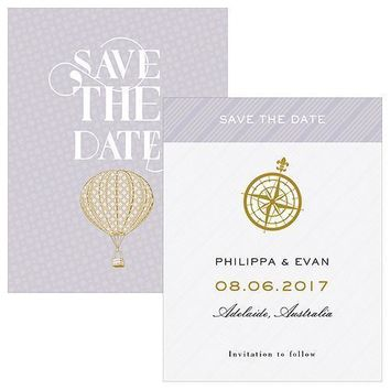 Vintage Travel Save The Date Card (Pack of 1)