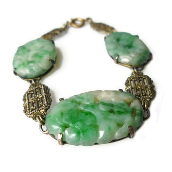 Chinese Jade Bracelet, Czechoslovakia Czech, Sterling Silver, Gold Tone, Filigree, Art Deco Bracelet, Antique Jewelry