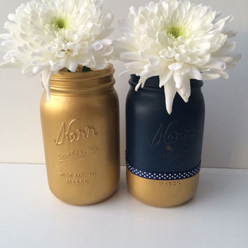 Free Shipping - Distressed Mason Jars in Navy Blue and Golden - Decorative Vase - Home Decor