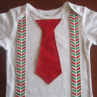 Boy red green suspender outfit, Boy christmas outfit, Baby christmas Onesuit, Boy red green suspender onsie, boy X mas neck tie outfit