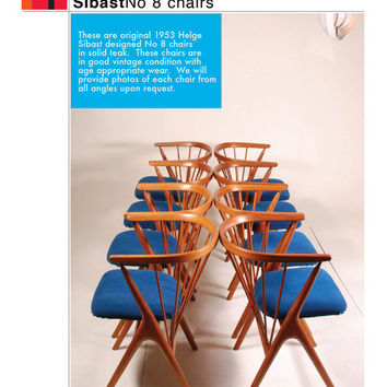 8 1953 Sibast No. 8 Dining Chairs in Teak