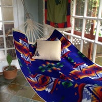 Vintage Indian Summer Hammock, WWII Navy Sailors Canvas Hammock, Pendleton Wool