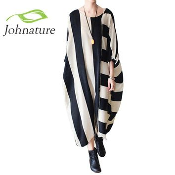 Johnature 2018 Summer New Women Stripe Dress Loose Plus Size Batwing Long Dress Long Sleeve O-Neck Asymmetrical Dress Robe