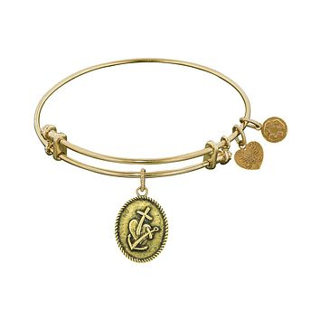 Smooth Finish Brass Faith, Hope, Charity Angelica Bangle Bracelet, 7.25""