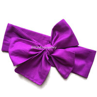 Purple Head wrap, Bow head wrap, baby head wrap, baby turban, big bow