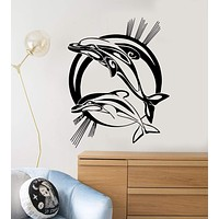 Vinyl Wall Decal Dolphins Marine Animals Ocean Stickers Mural Unique Gift (ig230)