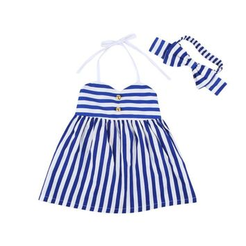New 2017 Children's Clothing Girl Dress Striped Baby Girls Dresses with Headband Kids Summer Clothes Robe Enfant