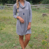 Keep Me Cozy Gray Cowl Neck Sweater Dress With Quarter Length Sleeves