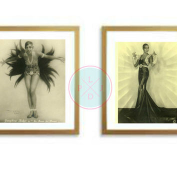 "50% OFF SALE-Vintage Printable, ""Josephine Baker"", African American, American Actress, Vintage Decor, Table Top, Vintage Images, Paris Art"