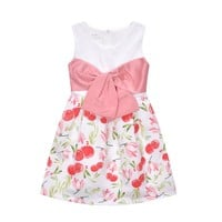 Pluckystar Flower Girl Dress A-Line Dresses For Girls Summer Sleeveless Vestidos Pink Bowknot roupas infantis menina D27