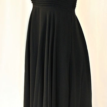 Vintage 1970s Albert Nipon Empire Waist Chiffon Little Black Dress