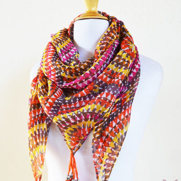 """Womens Scarf """"Sylvia"""" MULTICOLOR III with long tassels  - shawl cowl neckwarmer - accessories"""