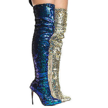Quinn17 Sequins Thigh High Pointy Toe Stiletto High Heel Boots