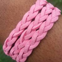 Braided Suede Wrap Bracelet, Triple Wrap Infinity Bracelet for Women and Girls feat. Infinty Charm (Made in USA)