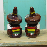 Mexican Sombrero Siesta Salt & Pepper Shakers • Japan Circa 1950s • Vintage Japanese Redware