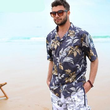 Floral Aloha Hawaiian Tropical Men Shirts Beach Shirt