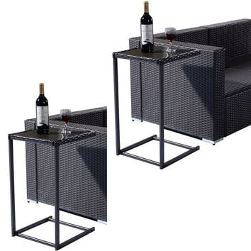 2PCS Brown Coffee Tray Side Sofa End Table Rattan PE Square Glass Furniture