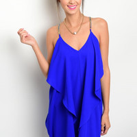 All In the Drapes Royal Blue Dress - FINAL SALE