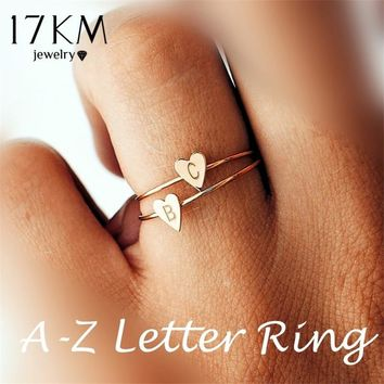 17KM Fashion Gold Silver Color Heart Letters Rings For Women DIY Name Ring Set Female Statement Engagement Party Jewelry
