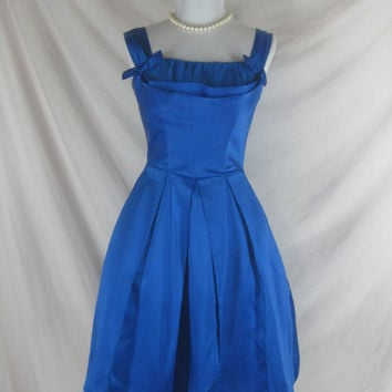 1950s 1960s Electric Blue Satin vintage Ladies Christmas  Cocktail Party Dress W 26