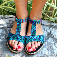 Hmong Embroidered Batik Bright BlueT-Strap Vegan Womens Sandal