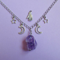 magical amethyst necklace, pastel goth, pastel grunge, nu goth