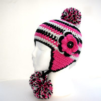 Pink and black hat Winter Earflap hat Toddler Girl hat pom pom hat, striped childs hat crochet Custom 12-36 months Made to order