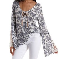 Ivory Combo Crochet-Cuffed Bell Sleeve Top by Charlotte Russe