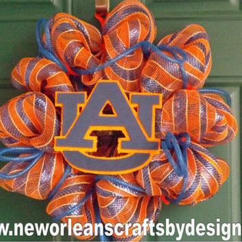 Auburn Blue and Orange Deco Mesh Wreath with Deco Flex Tubing