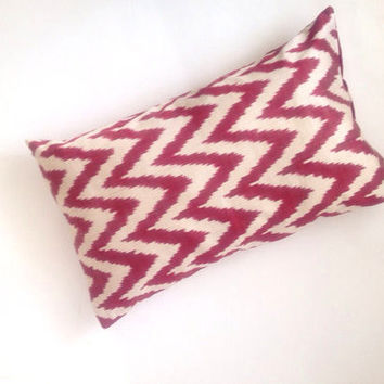 Red Zigzag Silk Ikat Pillow Cover, Silk Cushion Cover