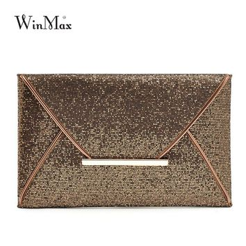 Winmax New Design Fashion Evening Bags Party Clutch Hand Bags Purses Female PU Sequined Hasp Envelop Bags Women Small Handbags