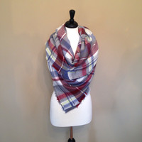 Tartan Plaid Blanket Scarf by KnitPopShop