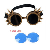 Unisex Steam Punk Glasses Steampunk Windproof Mirror Vintage Gothic 7 Colors Lenses Goggles Cool Sunglasses