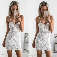 Sleeveless Summer Women's Fashion Sexy White Lace Patchwork Spaghetti Strap One Piece Dress [11548118612]