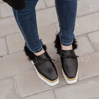Women's shoes 2017 New Fashion Ankle Wedges Plush Solid Platform Shoes Lady Casual Winter Shoes