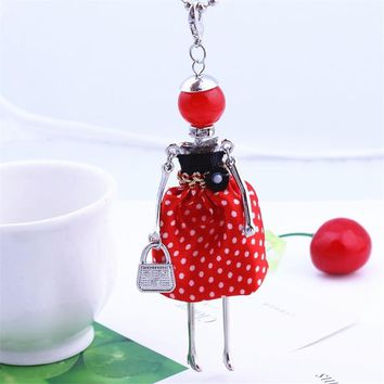 Lovely Dot Dress Wearing Doll Pendant Necklace 7 Color French Paris Girl Long Chain Statement Necklace Fashion Jewelry Accessory