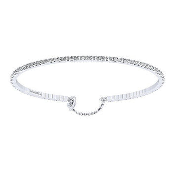 14K White Gold 1cttw Pave Cuff Bangle Bracelet