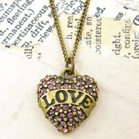 Love Heart Antique Brass Pink Rhinestone Pendant Necklace with 20 inch Antique Brass Chain