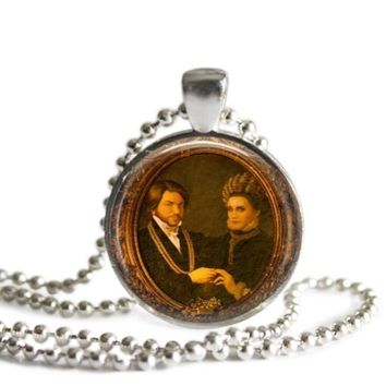 What We Do In The Shadows Lazlo and Nadja 1 Inch Silver Plated Pendant Necklace Handmade