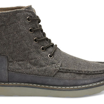 GREY WOOL QUILTED WOMEN'S SEARCHER BOOTS