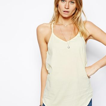 ASOS Longline V Neck Cami Top - Lemon meringue