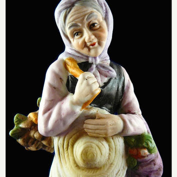 On Sale Vintage, Napco, Old World Woman, Gardening Woman, Porcelain, Bisque, Figurine