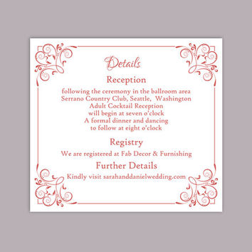 DIY Wedding Details Card Template Editable Text Word File Download Printable Details Card Wine Red Details Card Red Information Cards
