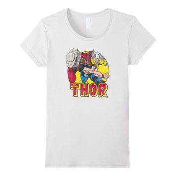 Marvel Mighty Thor Hammer Throw Vintage Graphic T-Shirt C2