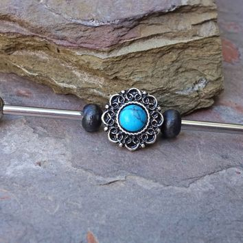 Heart FiligreeTurquoise Industrial Barbell Scaffold Piercing